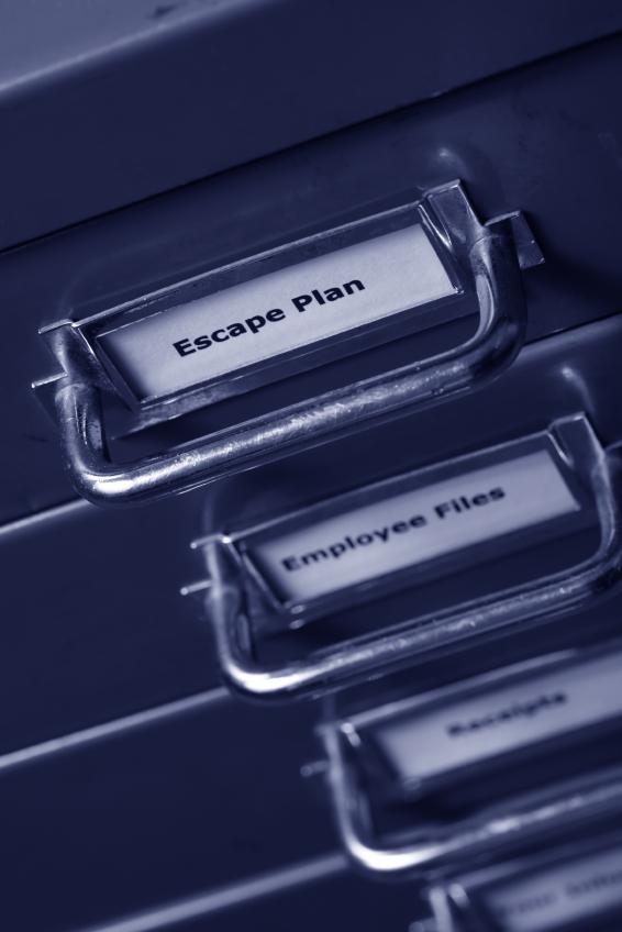 Escape plan filing cabinet