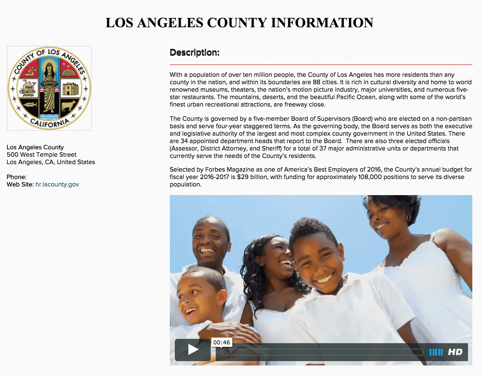 employer profile LA County